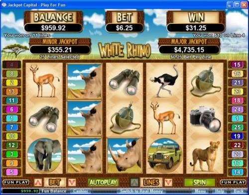 White Rhino review on Big Bonus Slots