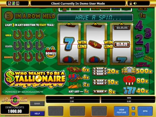 Who Wants to be a Stallionaire review on Big Bonus Slots