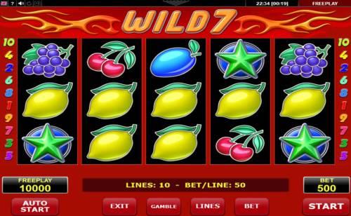 Wild 7 Big Bonus Slots Main Game Board