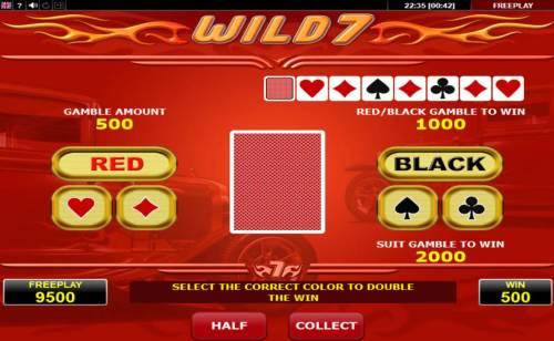 Wild 7 Big Bonus Slots Gamble Feature Game Board