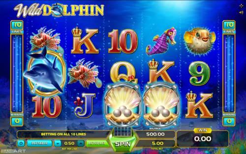 Wild Dolphin Big Bonus Slots Main Game Board