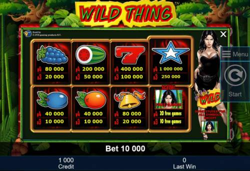 Wild Thing Big Bonus Slots Slot game symbols paytable.