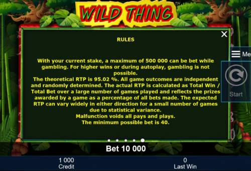 Wild Thing Big Bonus Slots General Game Rules - The theoretical average return to player (RTP) is 95.02%.