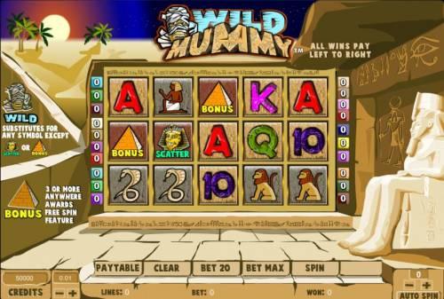 Wild Mummy Big Bonus Slots main game board featuring five reels and twenty paylines