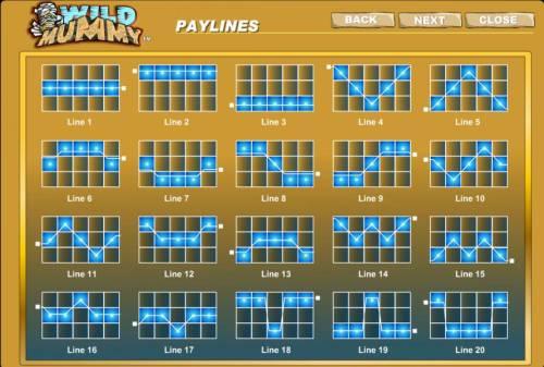 Wild Mummy Big Bonus Slots twenty payline diagrams