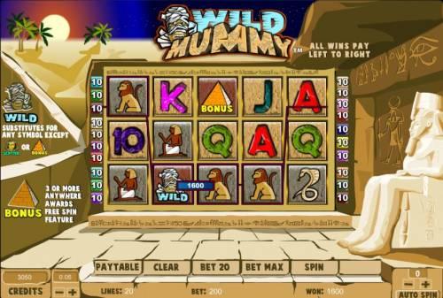 Wild Mummy Big Bonus Slots four of a kind triggers a 1600 coin big win jackpot