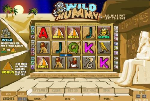 Wild Mummy Big Bonus Slots three bonus symbols triggers free spins feature