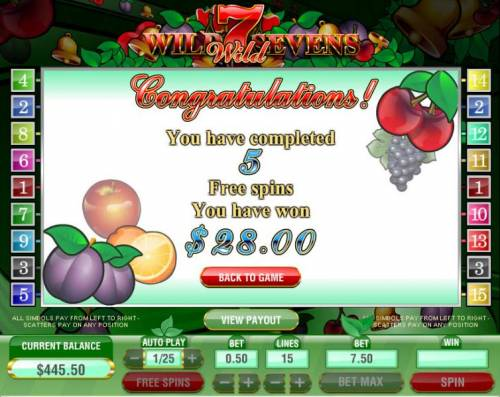 Wild Sevens 5 Lines Big Bonus Slots you have completed 5 free spins and won $28