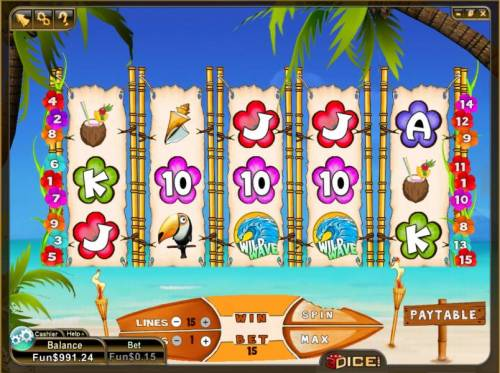 Wild Waves Big Bonus Slots main game board featuring 5 reels and 15 paylines
