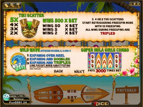 Wild Waves Big Bonus Slots tiki scatter, wild wave and super hula girls combo paytable and rules