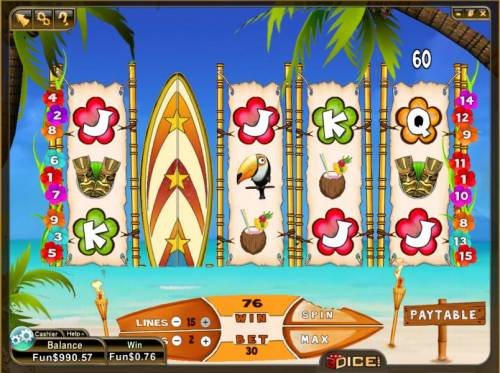 Wild Waves Big Bonus Slots expanded wild triggers 76 coin jackpot