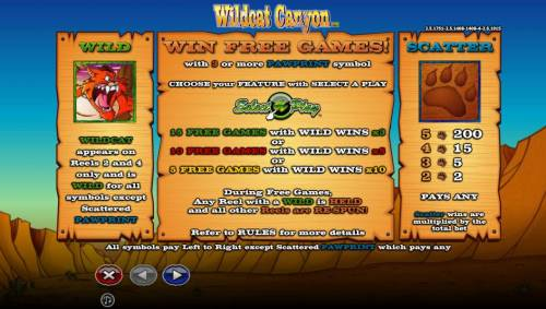 Wildcat Canyon review on Big Bonus Slots