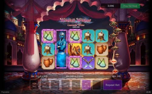 Winfall Wishes Big Bonus Slots Stacked genie Wild triggered.
