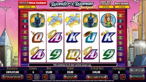 Wonder Woman Jackpots Big Bonus Slots Main game board featuring five reels and 9 paylines with a Jackpot max payout