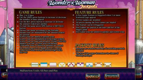 Wonder Woman Jackpots Big Bonus Slots Game Rules, Feature Rules, Jackpot Rules and Payline Diagrams 1-9