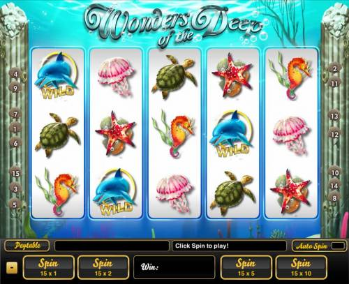 Wonders of the Deep Big Bonus Slots An undersea adventure themed main game board featuring five reels and 15 paylines with a $100,000 max payout