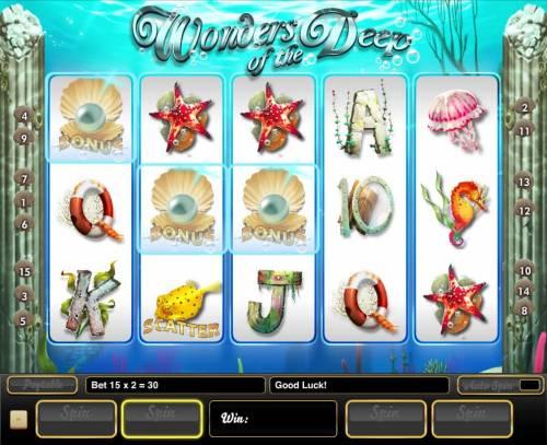 Wonders of the Deep Big Bonus Slots Three pearl bonus symbols triggers the Bonus Pick Feature.