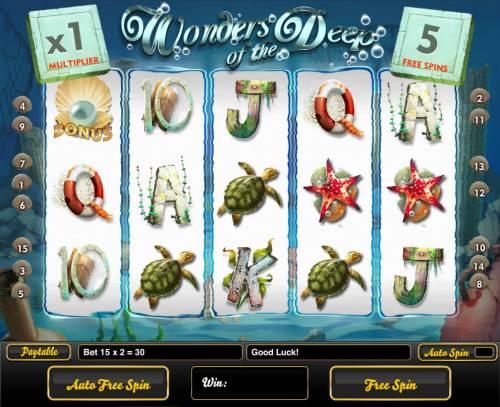 Wonders of the Deep Big Bonus Slots Free Spins Game Board