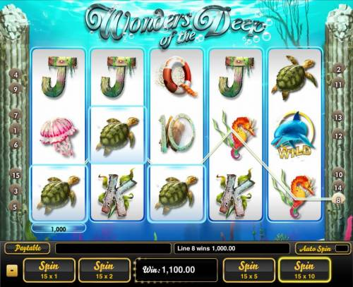 Wonders of the Deep Big Bonus Slots A winning Three of a Kind triggers a 1,000 line pay.