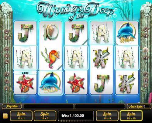 Wonders of the Deep Big Bonus Slots A 2,000 Line pay leads to a super win.