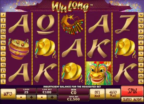 Wu Long Big Bonus Slots Main game board featuring five reels and 25 paylines with a $250,000 max payout