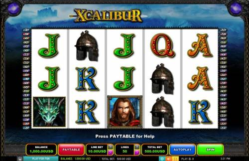 Xcalibur Big Bonus Slots Main Game Board