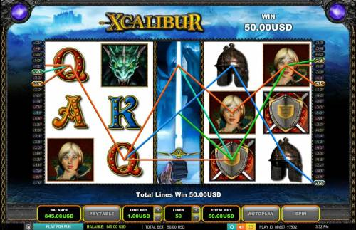 Xcalibur Big Bonus Slots Stacked wild symbol triggers multiple winning paylines