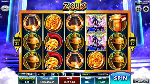 Zeus Big Bonus Slots Main game board featuring five reels and 25 paylines with a $20,000 max payout.