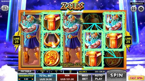 Zeus Big Bonus Slots Dual Stacked Wilds on reels 1 and 3 triggers a 531.00 jackpot.