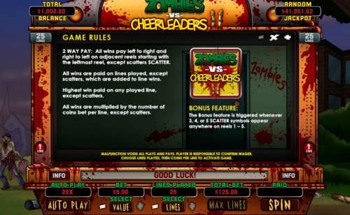 Zombies vs Cheerleaders II review on Big Bonus Slots