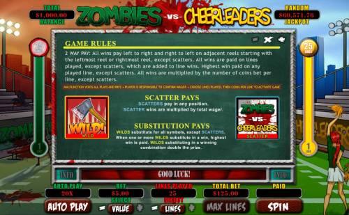 Zombies vs Cheerleaders Big Bonus Slots Wild and Scatter Symbol Rules