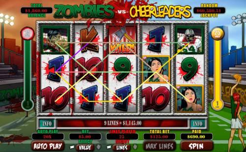 Zombies vs Cheerleaders Big Bonus Slots Multiple winning paylines