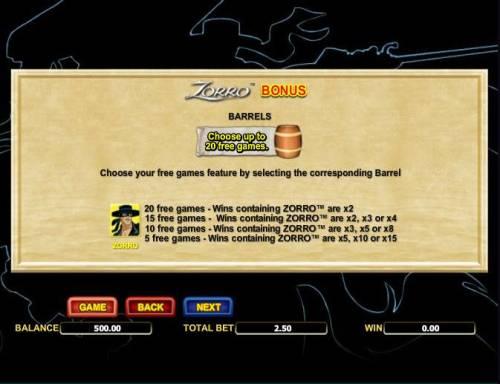 Zorro review on Big Bonus Slots